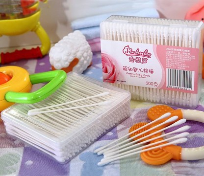 200 Pcs White Paper Stick Super mini Baby Cotton Buds Packed in PP box Item No: 4001