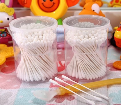 180 Pcs White Paper Stick Super mini Baby Cotton Swabs Packed in PP can item No:4008