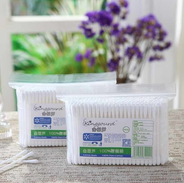 200 Pcs Of Plastic Stick 100% Pure Cotton Buds Cotton Swabs In PP Ziplock Bags Item No:1002